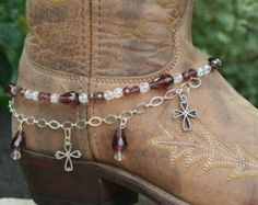Boot Candy Amethyst Crystals and Crosses  with Chain  608124   Boot Jewelry-Boot Bling-Boot Bracelet-Boot Accessories