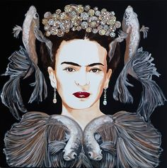 Frida With Japanese Fighting Fish and Bubble Crown | Sarah Ashley Longmore