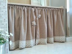 Rock these kitchen cabinet curtains for an adorable home décor style! Cute Curtains, Ikea Curtains, Drop Cloth Curtains, Kitchen Curtains, Rustic Kitchen Design, Shabby Chic Kitchen, Farmhouse Kitchen Decor, Shabby Chic Frames, Shabby Chic Decor