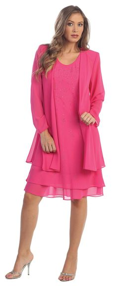 Flowy Chiffon Fuchsia Dress Knee Length Long Sleeve Cardigan $85.99