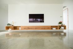 Large floating TV cabinet created from recycled timber - Bombora Custom Furniture. Made in Torquay, Australia. International shipping available. Floating Tv Cabinet, Floating Tv Unit, Floating Tv Stand, Living Room Tv Unit, Living Room Decor, Living Rooms, Custom Furniture, Furniture Design, Tv Furniture