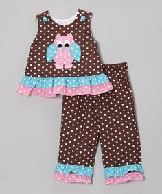 Take a look at this Tricia Brown Polka Dot Owl Ruffle Tank & Pants - Infant, Toddler & Girls on zulily today! Toddler Pants, Infant Toddler, Toddler Girls, Sewing For Kids, Baby Sewing, Sewing Ideas, Baby Kids Wear, Make Your Own Clothes, Weather Wear