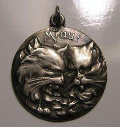 Antique Art Nouveau German 800 Silver Cats Kittens 'Miau!' Charm or Pendant #Unbranded #ANTIQUECATCHARM