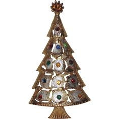 Gold & Silver Patchwork Christmas Tree Pin ~ Book Piece...so unusual and chic-ly metallic