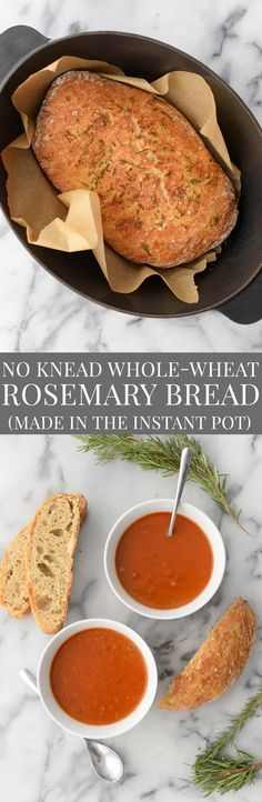 No Knead Whole Wheat Rosemary Bread made in the Instant Pot! Want crusty, bakery bread in just 4 hours? Then you've gotta save this recipe! Whole Wheat Rosemary Bread proofed in the Instant Pot! Amazing! | www.delishknowledge.com #bread #instantpot #vegan #homemadebread #wholewheat #pressurecooker