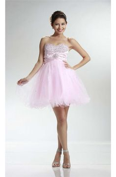 Cute Ball Sweetheart Short Light Pink Tulle Beaded Cocktail Prom Dress