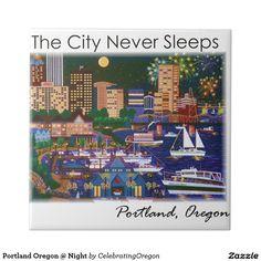Portland Oregon @ Night Small Square designed by International Artist Jennifer Lake ~ jenniferlakeart.blogspot.com