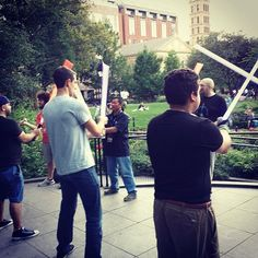 Outdoor lightsaber stage combat practice with New York Jedi. Washington Square Park, New York City