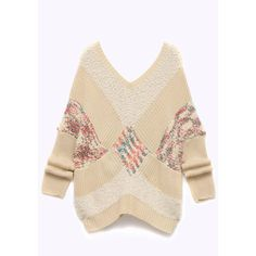 Yoins Plus Size V-Neck Color Block Knitted Sweater in Beige (5000 ALL) ❤ liked on Polyvore featuring tops, sweaters, yoins, beige, color block sweater, women's plus size sweaters, v neck sweater, plus size tops and v-neck tops