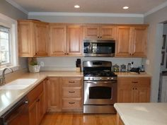 example of honey maple cabinets with Benjamin Moore Revere ...