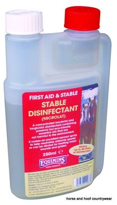 Equimins Stable Disinfectant Concentrate An extremely safe disinfectant produced from essential oils it is even safe enough to use on minor cuts and bruises.