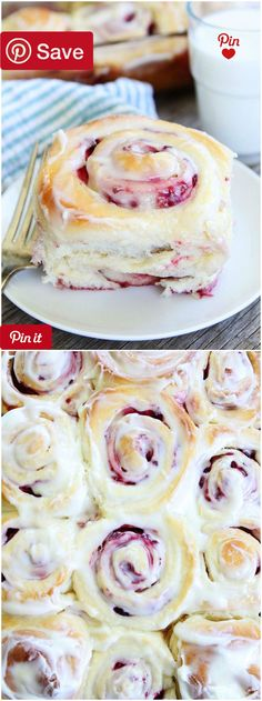Raspberry Sweet Rolls - Love these soft and sweet yeast rolls! The raspberry filling and cream cheese frosting are amazing! A great treat for Valentines Day! #delicious #diy #Easy #food #love #recipe #recipes #tutorial #yummy @mabarto - Make sure to follo