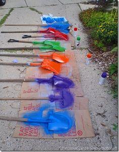 Painting shovels.