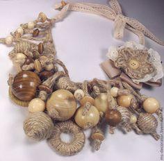 Scarf Jewelry, Textile Jewelry, Fabric Jewelry, Beaded Jewelry, Fabric Necklace, Diy Necklace, Wooden Jewelry, Leather Jewelry, Boho Crochet Patterns
