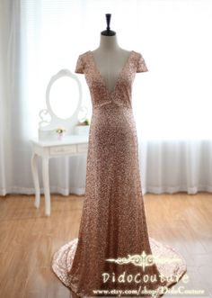 Custom Made Champagne Vneck Sequin Lace Prom by DidoCouture, $179.00
