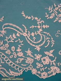 Augusta Auctions, October 2006 Vintage Clothing & Textile Auction, Lot 231: Handmade Brussels Lace Flounce, Early 19th C