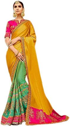 060f4228ca5cf Shoppingover Letest Design Indian ethnic embroidered Saree with Blouse for  women  Amazon.ca