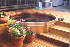Bathroom plants shower outdoor tub 70 new Ideas Outdoor Tub, Outdoor Gardens, Outdoor Decor, Garden Tub Decorating, Decorating Ideas, Decor Ideas, Round Hot Tub, Room Design Images, Tubs For Sale