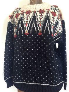 DALE of NORWAY Fair Isle Sweater  Wool  Black by BrocanteBedStuy