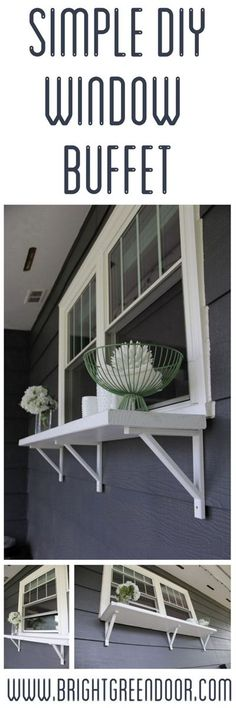 Simple DIY Window Buffet - great idea for kitchen window out to back patio! Outdoor Spaces, Outdoor Living, Outdoor Decor, Window Ledge Decor, Room Window, Porch Bar, Deck Bar, Window Bars, Backyard Bar