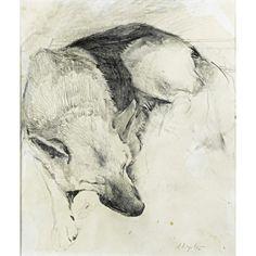 Andrew Wyeth (American, 1917-2009)  Untitled (German Shepherd)  Pencil on paper