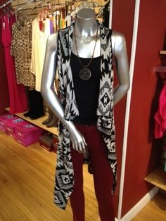 Aztec Print Tunic Vest