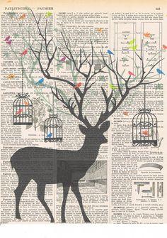 DeerBird.birdcage.collage.Fantasy. Antique by studioflowerpower