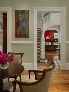 traditional living room by Hanson General Contracting, Inc. Love the molding/baseboards/chair rail. Living Room Seating, Living Room Chairs, Living Room Decor, Dining Rooms, Interior Trim, Interior Design, Interior Door, Interior Paint, Baseboard Styles