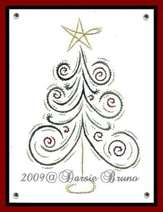 Christmas Tree with Swirls Paper Embroidery Pattern for por Darse