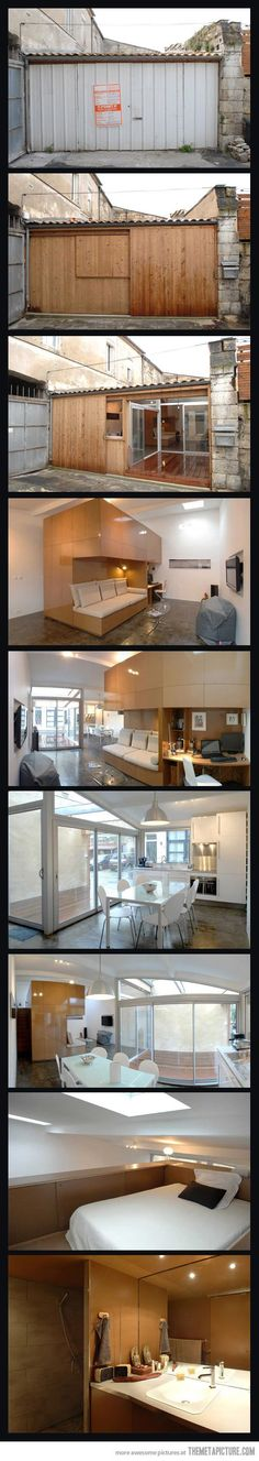 Love this wow great use of small space Garage converted into apartment…
