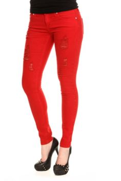 Women'S Red Jeans Skinny | Bbg Clothing