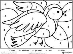 Color By Number: Bird: Printable color by number coloring pages. Perfect for preschoolers to help them develop eye-hand coordination, practice their colors and learn to follow directions.