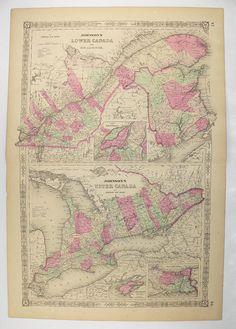Original Antique Map of Canada, 1864 Johnson Canada Map, Ontario Canada, Quebec New Brunswick, Eastern Canada Map, Canada Decor Gift for Her available from #OldMapsandPrints on #Etsy #1864JohnsonMapofCanada #AntiqueCanadaMap #VintageCanadaDecor