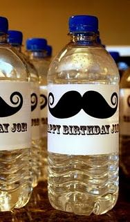 mustache water labels