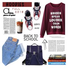 """""""Cute Hoodie"""" by kerol-bartoli ❤ liked on Polyvore featuring WithChic, Levi's, Proenza Schouler, Converse and Hoodies"""