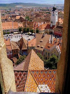 Sibiu viewed from the top, Transilvania, Romania