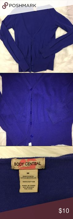 "Body central cardigan Royal blue, 100% cotton cardigan from body central. Perfect condition. 22.5"" length, 16"" armpit to armpit Body Central Sweaters Cardigans"
