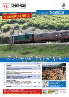 Il 2 maggio 2015 la #transiberianaditalia si dedica all'arte ed all'enogastronomia con il treno storico della Fondazione FS Italiane da Sulmona a Castel di Sangro. Info: prenotazioni@lerotaie.com o tel. 3400906221 #nonperdiamoquestotreno