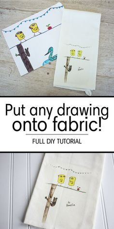 Turn any drawing into towels, pillows, apparel and more with this super easy DIY tutorial and heat transfer paper! Make adorable gifts with kids' drawings and artwork!
