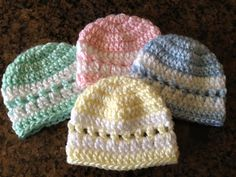 crochet baby hats  I am making new born baby hats for our hospital.  You can use 2 strands of DK as pattern says or 1 strand of worsted weight.
