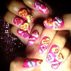 Valentine's Day Nail♡ #valentinenail #nailart #heartcandy #valentinesday #bemine