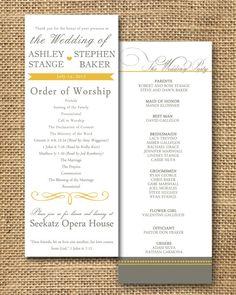 Gray and Poppy Yellow Wedding Program. $30.00, via Etsy.