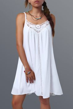 Lace Spliced Hollow Out Summer Dress, WHITE, XL in Summer Dresses