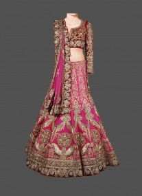 Pleasing Pink Net Based Lehenga With Gold Zari Work