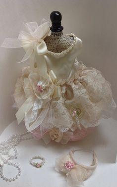 Beautiful SHABBY LACE DOGGIE DRESS, DOG DRESS, CAT DRESS from LAVENDERS CLOSET lavenderscloset4pets@gmail.com https://www.lavenderscloset.webstoreplace.com  and on IG @lavenders_closet