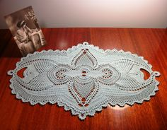 Oval crochet doily, 19 - 12 inches, Lace doily, Blue doily, Textured doily, Blue home decor, Crochet home decor, Crochet runner, Vintage by CrochetedCosiness on Etsy