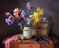 Still life with a bouquet of irises and lupines - null