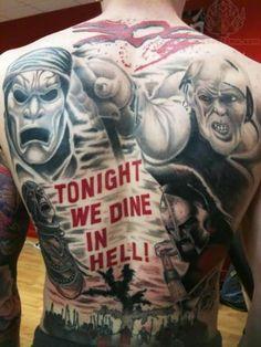 Tonight we dine in Hell back tattoo 300 Spartans full tat creative modern Thermopylae warrior Hooah movie Persians Leonidas