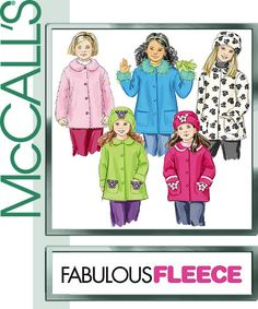 GIRLS COAT PATTERN / Fleece or Woll Jacket - Coat In Sizes 3 To 6 Or 7 to 16
