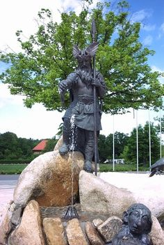 The Fountain of Wisdom - Thale, Germany;  Wotan uses a horn to drink from the fountain, while surrounded by the wind dwarves;  photo by trigonal, via Panoramio